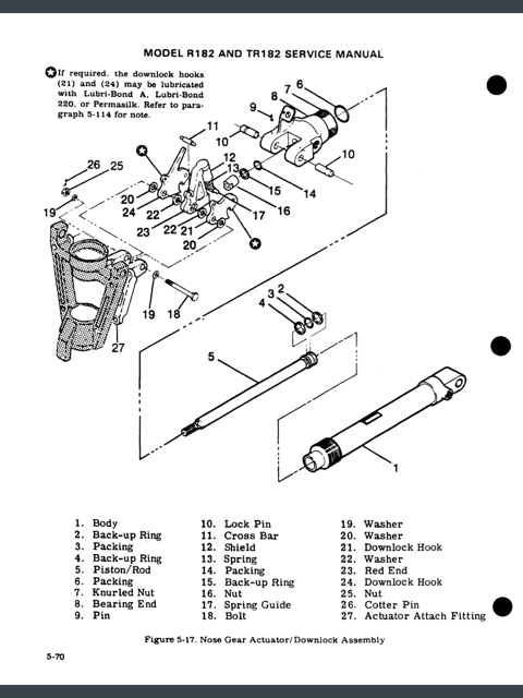 Nose Gear Actuator Downlock Assembly